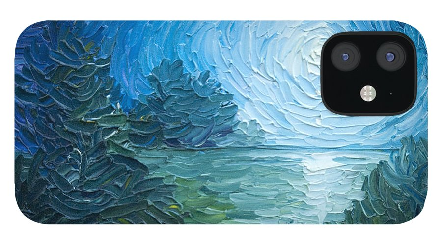 Nature; Lake; Sunset; Sunrise; Serene; Forest; Trees; Water; Ripples; Clearing; Lagoon; James Christopher Hill; Jameshillgallery.com; Foliage; Sky; Realism; Oils; Moon; Moonlight; Reflection; Blue; Lapis IPhone 12 Case featuring the painting River Moon by James Christopher Hill