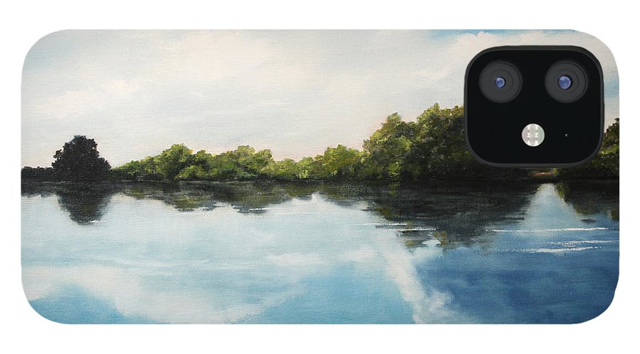 Landscape IPhone 12 Case featuring the painting River of Dreams by Darko Topalski
