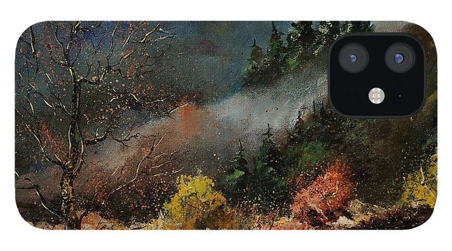 River IPhone 12 Case featuring the painting River Semois by Pol Ledent