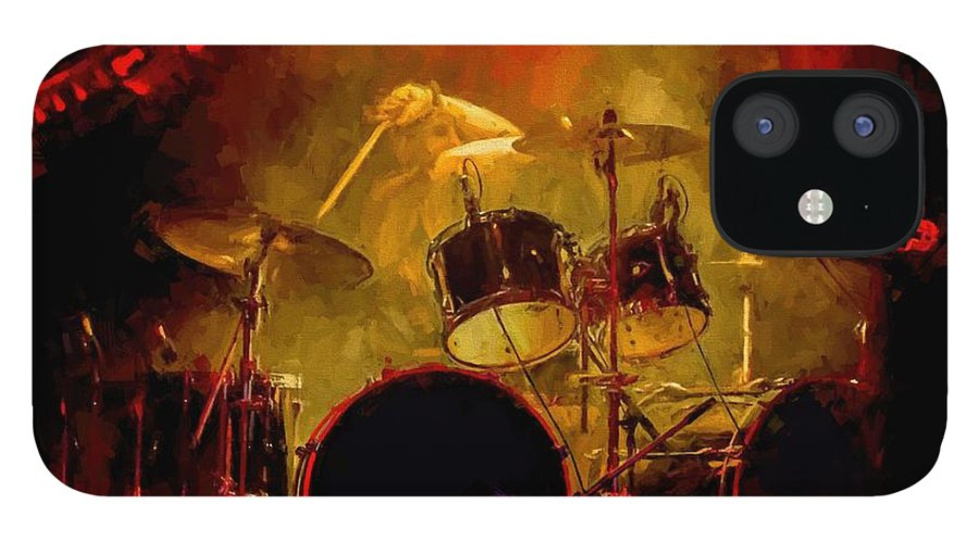 Rock And Roll Drum Solo # Rock And Roll # Drum Set # Rock And Roll Drum Paintings # Abstract Music Art # Zildjian # Drum Solo Painting # Concert # Smoke # Fog # IPhone 12 Case featuring the digital art Rock And Roll Drum Solo by Louis Ferreira