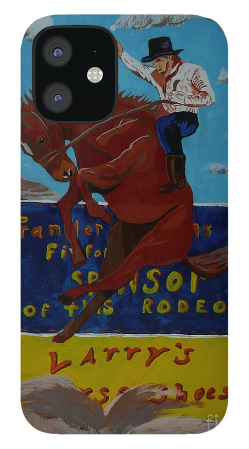 Cowboy IPhone 12 Case featuring the painting Rodeo Man by Anthony Dunphy