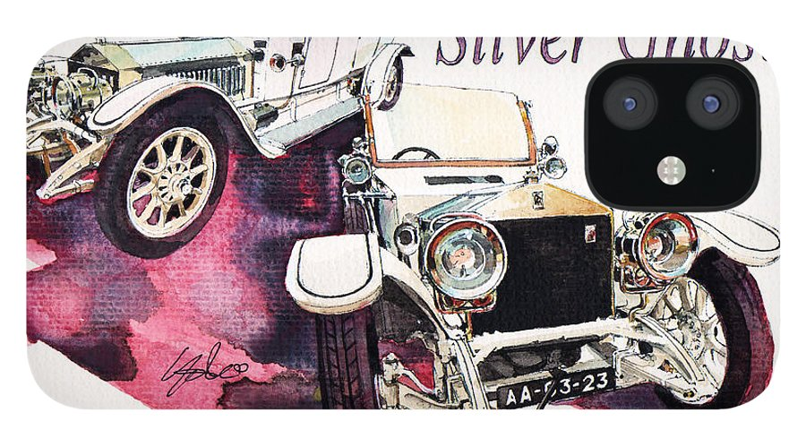 Rolls Royce Silver Ghost (1911) IPhone 12 Case featuring the painting Rolls Royce Silver ghost             by Yoshiharu Miyakawa