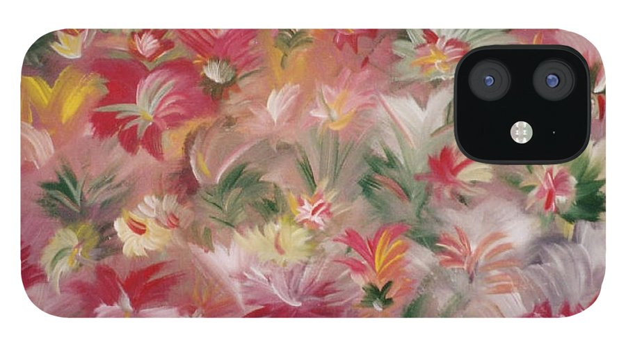 Flowers IPhone 12 Case featuring the painting Rosa Bluetenmeer by Michael Puya