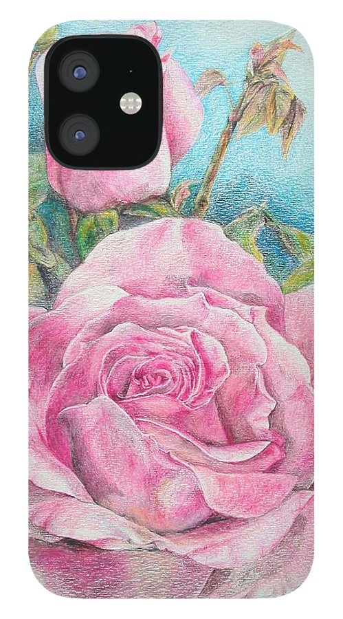 Flower IPhone 12 Case featuring the painting Rose by Muriel Dolemieux