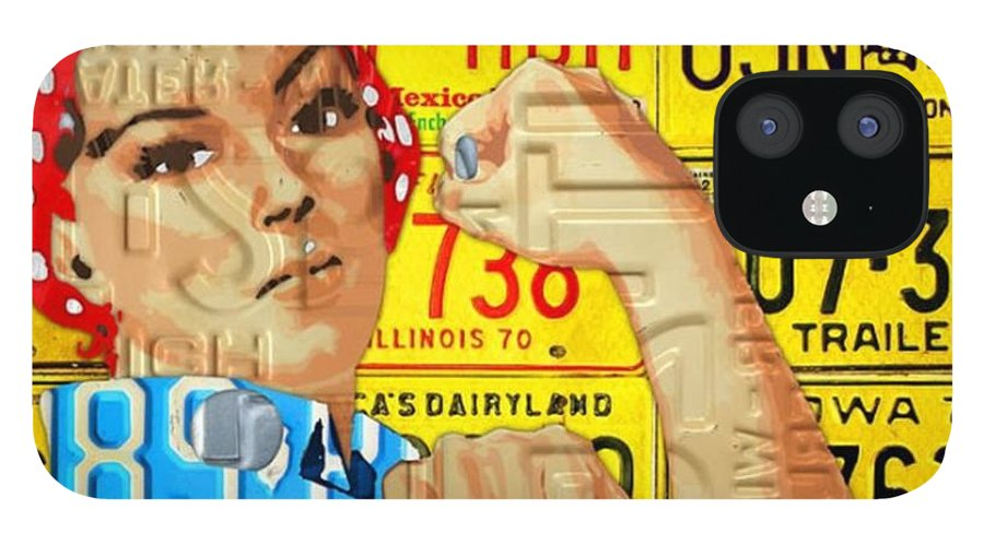 Rosie IPhone 12 Case featuring the photograph #rosie  #metal #art #licenseplate by Design Turnpike