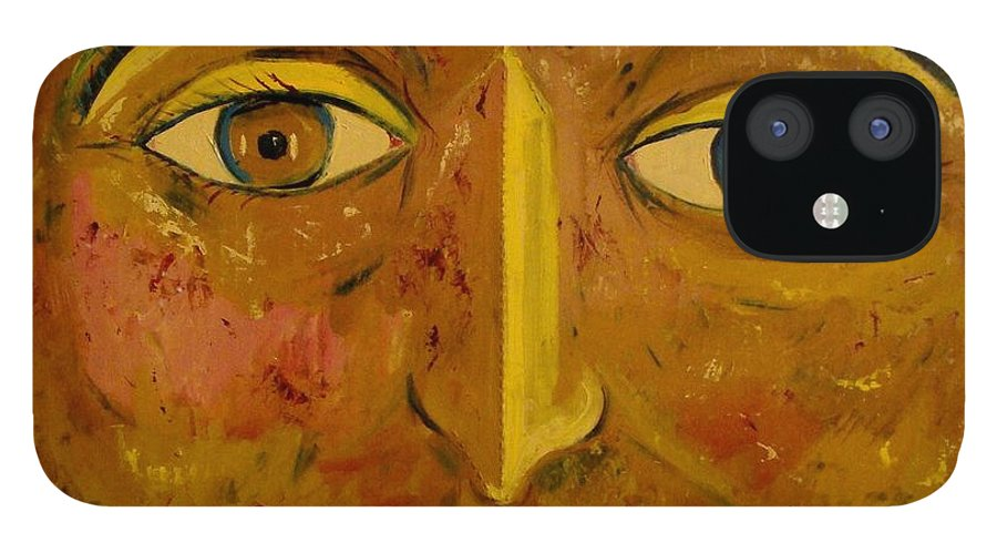 Face iPhone 12 Case featuring the painting Round face by Biagio Civale