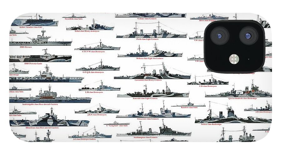 Royal Navy IPhone 12 Case featuring the drawing Royal Navy ww2 by The collectioner