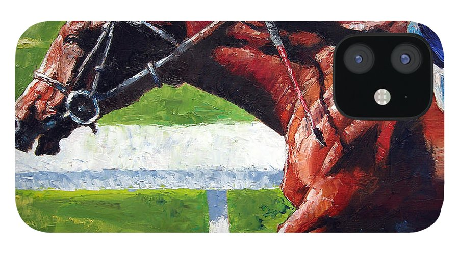 Horse Race IPhone 12 Case featuring the painting Running Towards The Light by John Lautermilch
