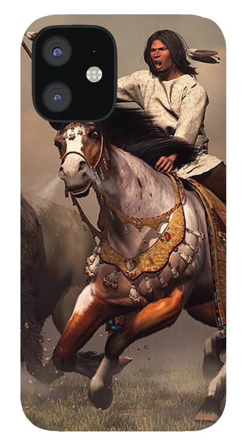 Western IPhone 12 Case featuring the digital art Running With Buffalo by Daniel Eskridge