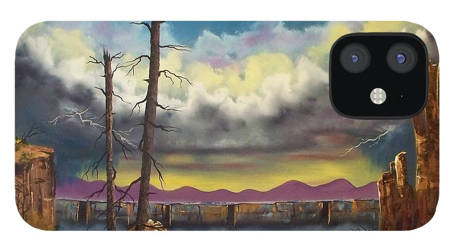 Painting IPhone 12 Case featuring the painting Sacred View by Patrick Trotter