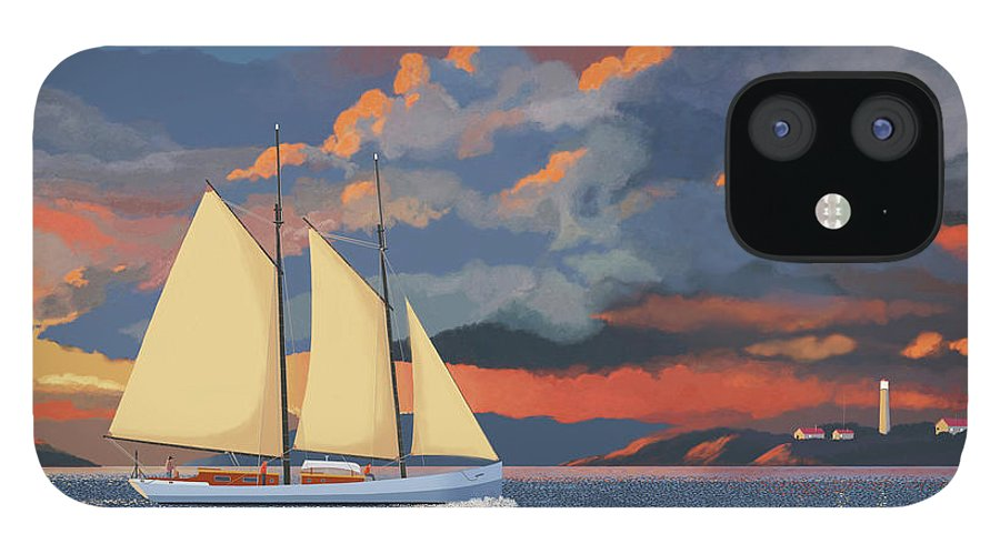 Schooner Yawl Sloop Ketch Sailing Sailor Ship Boat Freighter Sailing Ocean Sea Lake Stream River Cargo Storm Stormy Clouds Thunder Lightening IPhone 12 Case featuring the digital art Safe haven by Gary Giacomelli