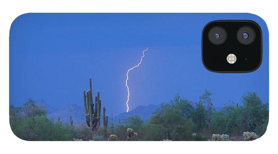 Lightning IPhone 12 Case featuring the photograph Saguaro Desert Lightning Strike Fine Art by James BO Insogna