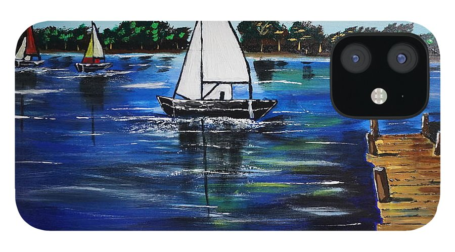 Landscape IPhone 12 Case featuring the painting Sailboats and Pier by Jimmy Clark