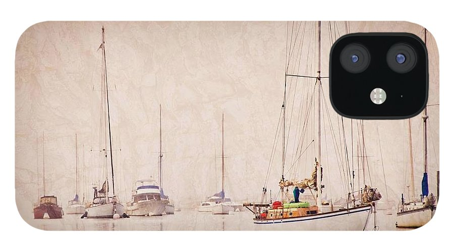 Sailboats IPhone 12 Case featuring the photograph Sailboats in Morro Bay Fog by Zayne Diamond Photographic
