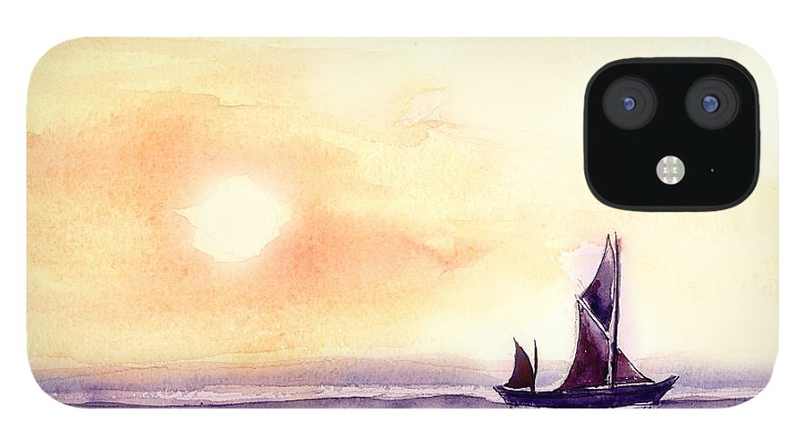 Nature IPhone 12 Case featuring the painting Sailing by Anil Nene