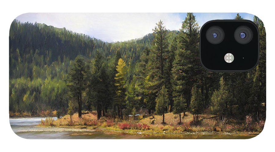 Salmon Lake IPhone 12 Case featuring the painting Salmon Lake Montana by Susan Kinney