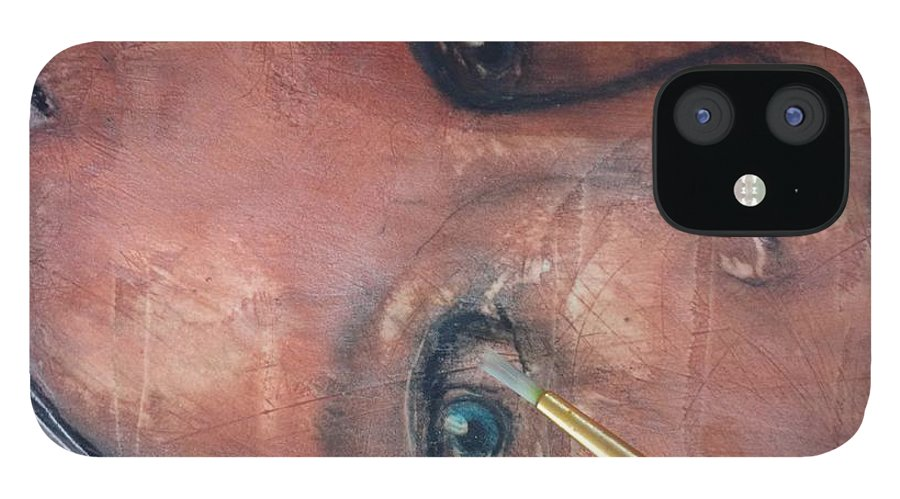 Angel iPhone 12 Case featuring the painting Sam detail by J Bauer