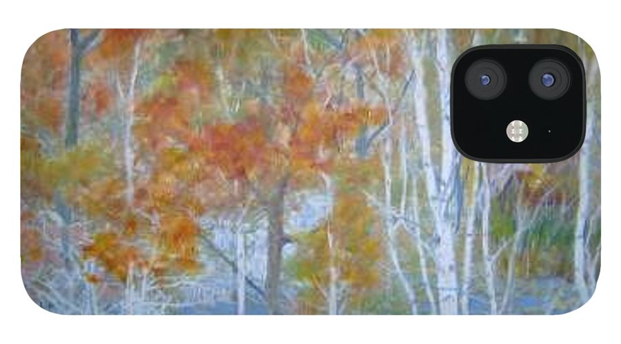 Church; Landscape; Birch Trees IPhone 12 Case featuring the painting Sanctuary by Ben Kiger
