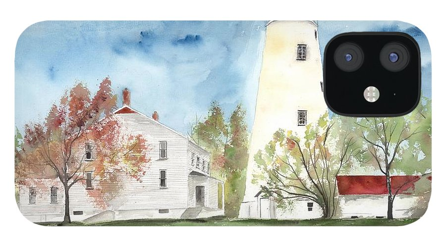 Watercolor IPhone 12 Case featuring the painting Sandy Hook Lighthouse by Derek Mccrea
