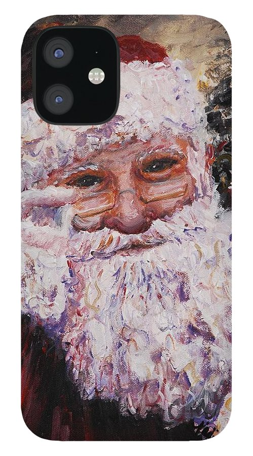 Santa IPhone 12 Case featuring the painting Santa Chat by Nadine Rippelmeyer