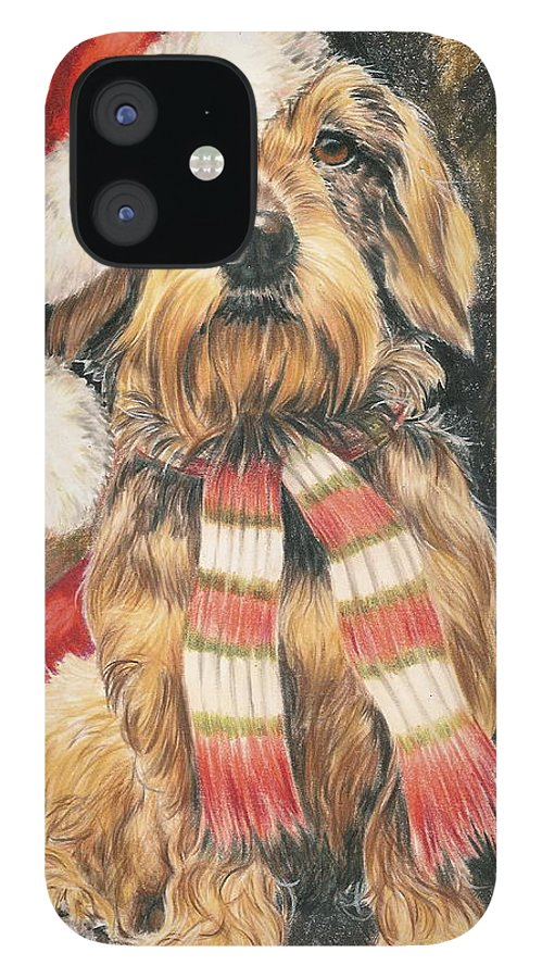 Hound Group IPhone 12 Case featuring the drawing Santas Little Yelper by Barbara Keith