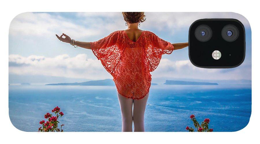 Santorini IPhone 12 Case featuring the photograph Santorini Yoga Goddess by Stuart Smith