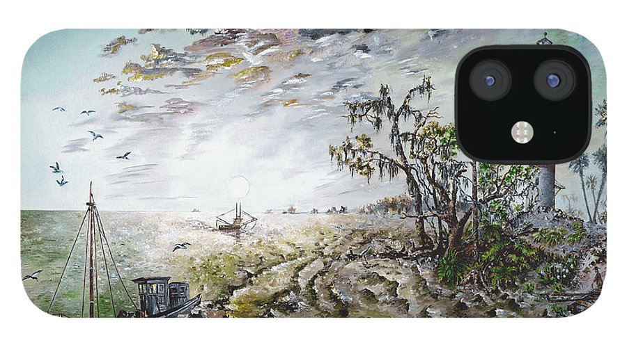 Lighthouse IPhone 12 Case featuring the painting Sapelo Island by Richard Barham