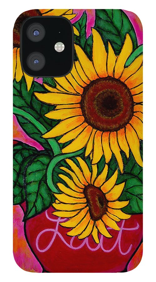 Sunflowers IPhone 12 Case featuring the painting Saturday Morning Sunflowers by Lisa Lorenz