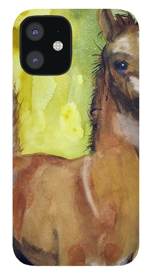 Filly IPhone 12 Case featuring the painting Saucy by Jean Blackmer