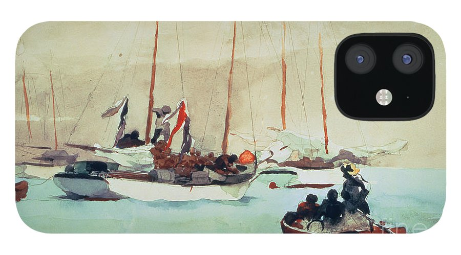 Boat IPhone 12 Case featuring the painting Schooners at Anchor in Key West by Winslow Homer