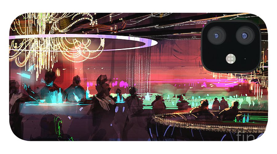 Club IPhone 12 Case featuring the painting Sci-fi lounge by Tithi Luadthong