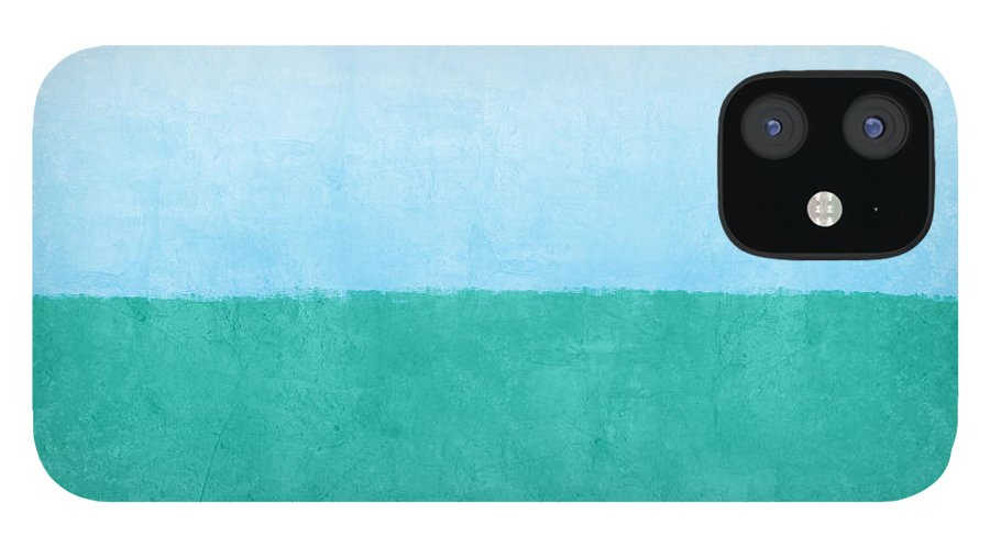 Abstract IPhone 12 Case featuring the mixed media Sea of Blues by Linda Woods
