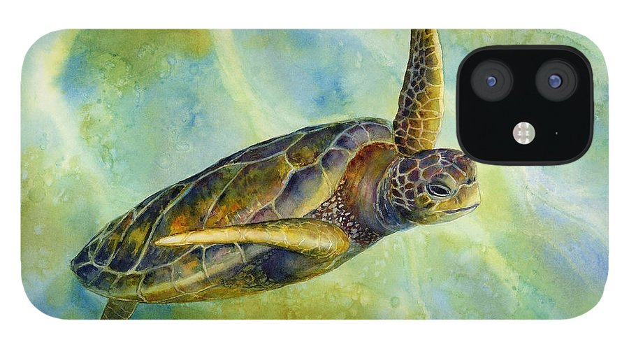 Underwater iPhone 12 Case featuring the painting Sea Turtle 2 by Hailey E Herrera