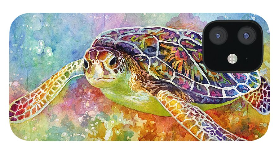 Turtle IPhone 12 Case featuring the painting Sea Turtle 3 by Hailey E Herrera