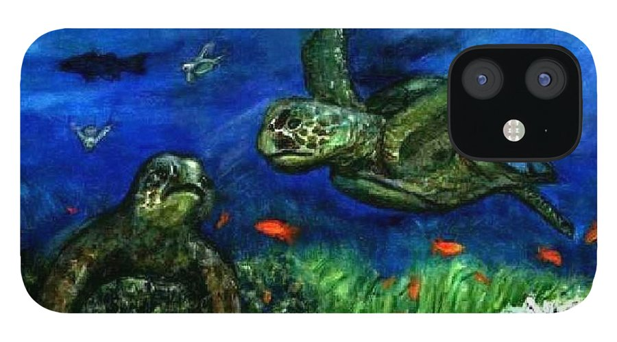 Sea Turtle iPhone 12 Case featuring the painting Sea Turtle Rendezvous by Tanna Lee M Wells