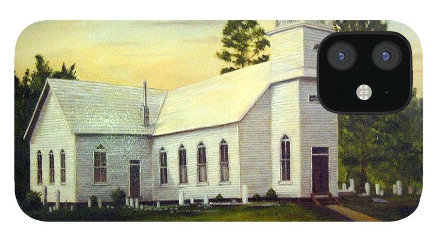 Church IPhone 12 Case featuring the painting Seaford Zion Methodist Church by Anne Kushnick