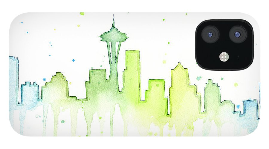 Seattle iPhone 12 Case featuring the painting Seattle Skyline Watercolor by Olga Shvartsur