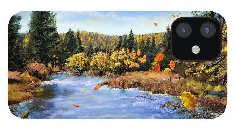 Montana Art IPhone 12 Case featuring the painting Seeley Montana Fall by Susan Kinney