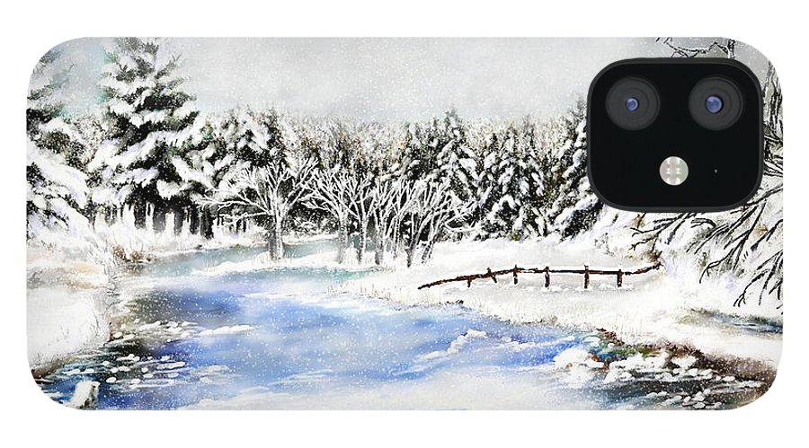 Montana Art IPhone 12 Case featuring the painting Seeley Montana Winter by Susan Kinney