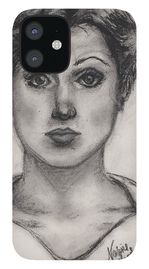 Nadine iPhone 12 Case featuring the drawing Self Portrait at Age 18 by Nadine Rippelmeyer