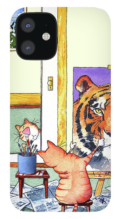 Tiger IPhone 12 Case featuring the painting Self Portrait, Tiger by Jim Tweedy