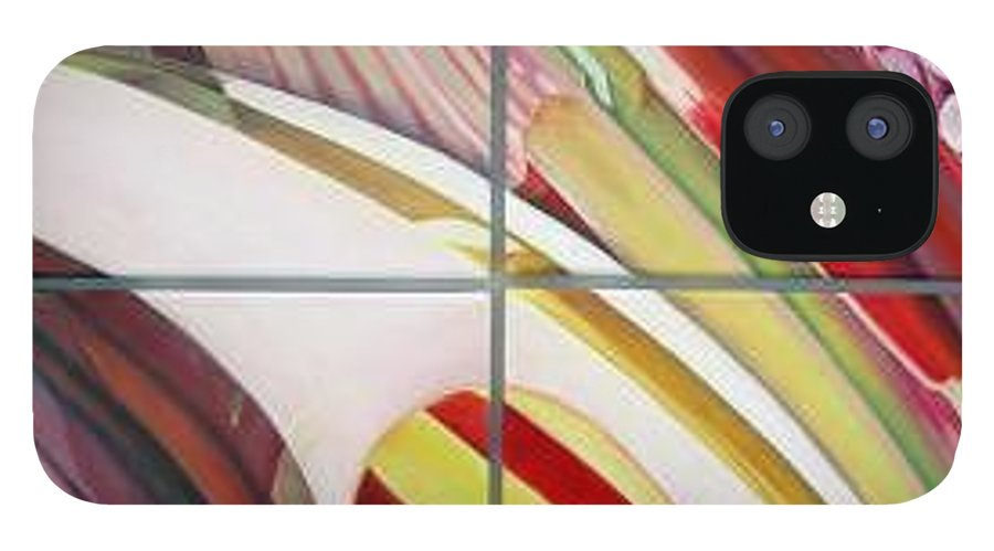 Abstract IPhone 12 Case featuring the painting Sens by Muriel Dolemieux