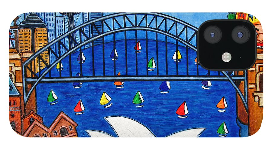 House IPhone 12 Case featuring the painting Sensational Sydney by Lisa Lorenz