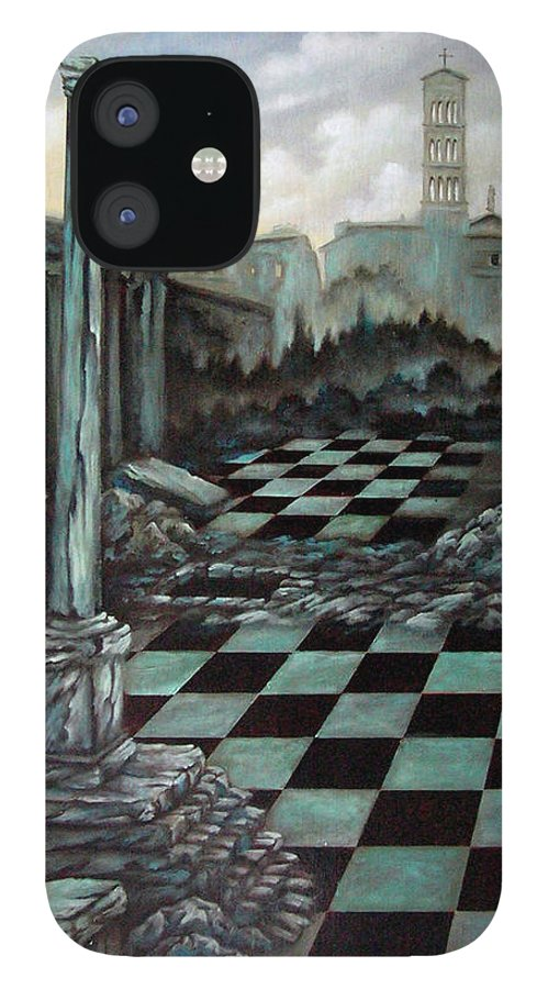 Surreal IPhone 12 Case featuring the painting Sepulchre by Valerie Vescovi