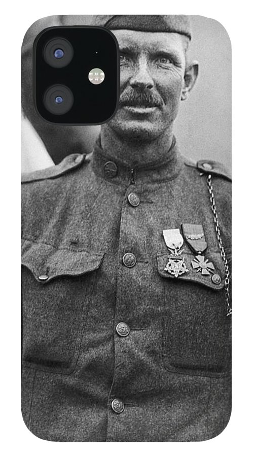 Alvin York IPhone 12 Case featuring the photograph Sergeant York - World War I Portrait by War Is Hell Store