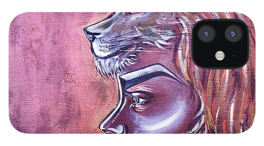 Lion IPhone 12 Case featuring the painting She Has Goals by Artist RiA
