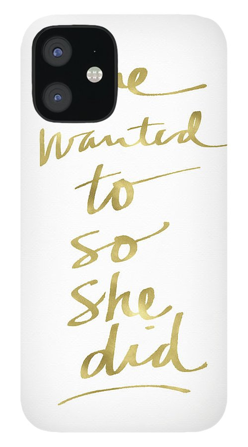Female Athlete IPhone 12 Case featuring the painting She Wanted To So She Did Gold- Art by Linda Woods by Linda Woods