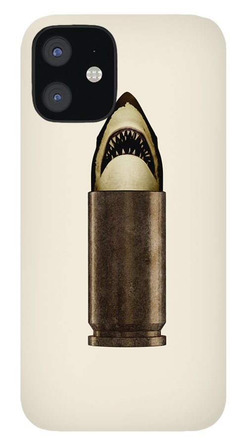 Bullet IPhone 12 Case featuring the digital art Shell Shark by Nicholas Ely