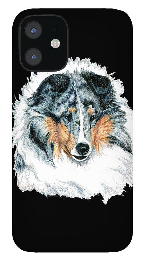 Sheltie IPhone 12 Case featuring the drawing Shetland Sheepdog, Sheltie, Blue Merle by Kathleen Sepulveda