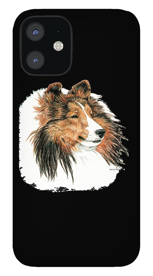 Sheltie IPhone 12 Case featuring the drawing Shetland Sheepdog, Sheltie Sable by Kathleen Sepulveda
